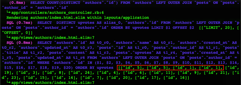 The First SQL is for Pagy to get the total number of authors. The second SQL is for Pagy to get the first 20 data. The third SQL is to get the info of related authors and posts.